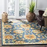Safavieh Heritage Collection HG654A Handcrafted Traditional Navy Premium Wool Area Rug (4′ x 6′)