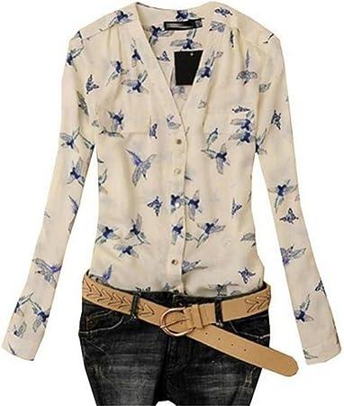 Moda Blusa Mujer Fiesta Elegante de impresión pájaro Casual Camisas Delgadas de Manga Larga de Gasa Tops Camiseta (A, L): Amazon.es: Hogar