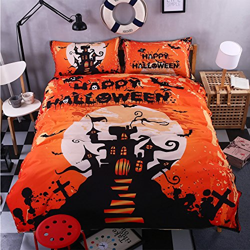 BOMCOM 3D Digital Printing Halloween Full Moon Night Creepy Castle Tree Silhouette 3-Piece Duvet Cover Sets 100% Microfiber Orange (full, Happy Halloween 3) (Simple Scary Halloween Treats)