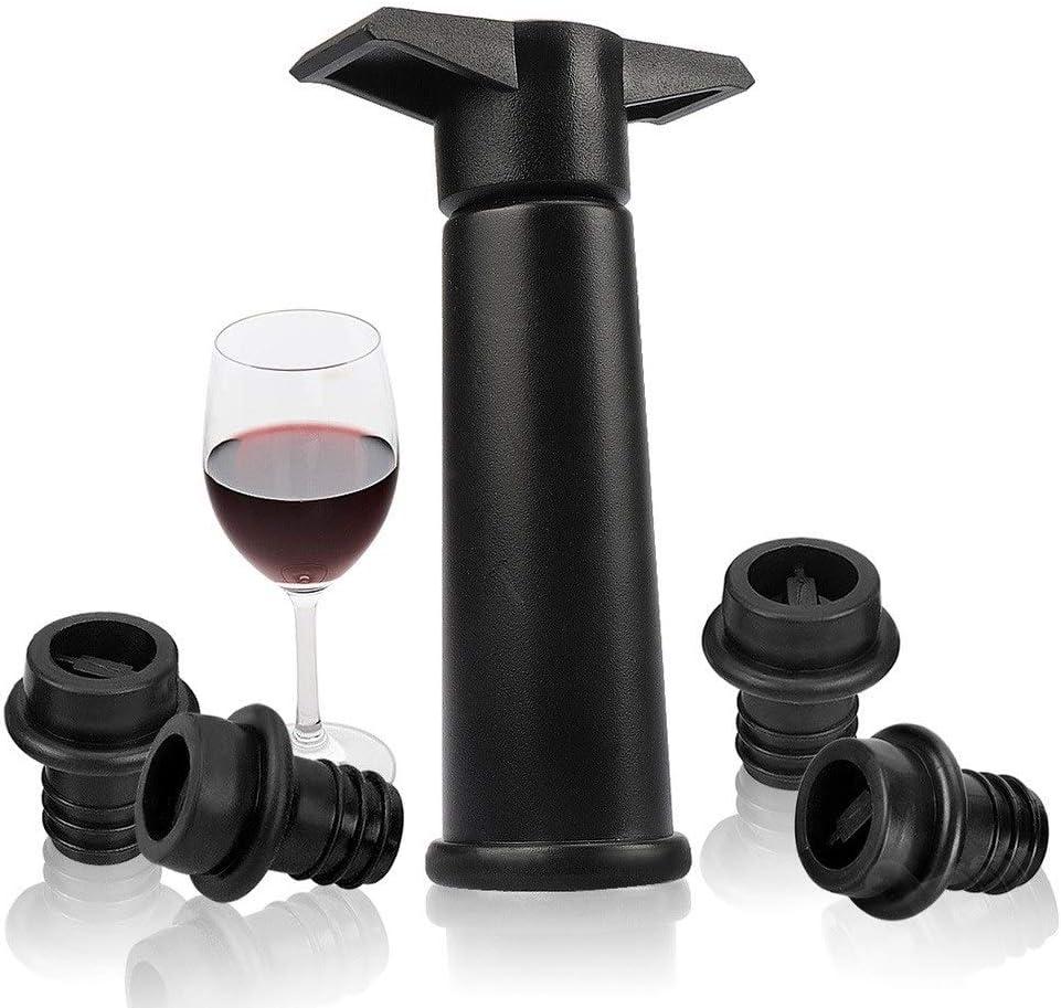 ワインボトルストッパー|1 Xの真空ポンプ+ 4 X真空ワインストッパー、ブラック(ワイングラスが含まれていません)