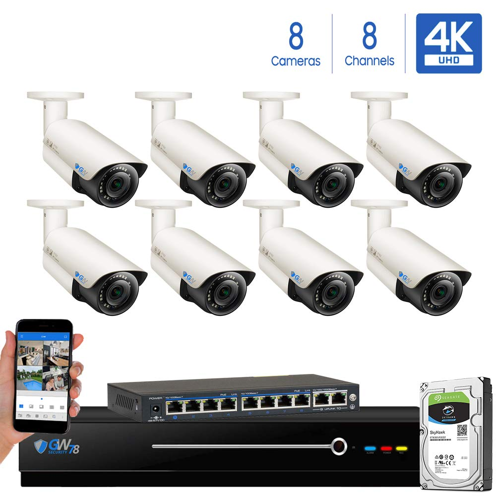 GW Security 8 Channel 4K NVR H.265 UltraHD 8MP 2160P IP PoE Security Camera System - 8 Outdoor/Indoor 2.8~12mm Varifocal Zoom 8.0 Megapixel 4K Camera, 120ft Night Vision, Free Remote View by GW Security