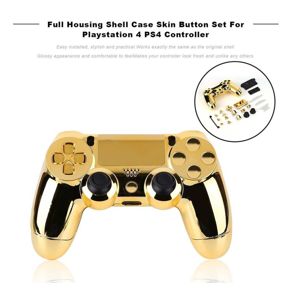 Full Housing Shell Gold Controller Housing Shell Case Skin Cover Button Set with Full Buttons Mod Kit Replacement for Playstation 4 Controller Exiao Controller Cover for PS4