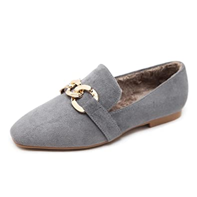 Mens Suede Leather Driving Shoes Metal Buckle Slip-on Flats Loafers Comfort Boat Shoes