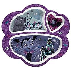 """Zak Designs Vmpa-0010 Disney Jr. Kids Divided Plates, 8.6"""" By 9.3"""", Vampirina & Gregoria"""