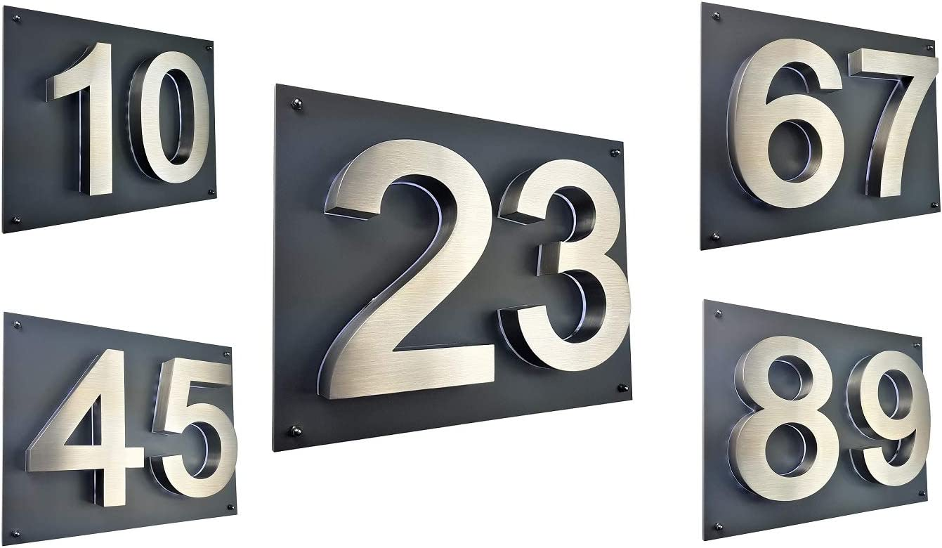 LED Hausnummer 3D Edelstahl V2A Hausnummerschild Arial Hausschild beleuchtet ZWEISTELLIG 35cm x 28cm anthrazit