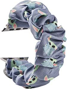 Cute baby yoda Scrunchie Elastic Watch Band,Gifts Ideas For Teen Girls,Best friend,Compatible With apple iWatch Series Se/6/5/4/3/2/1,For Watch Band 38mm/40mm