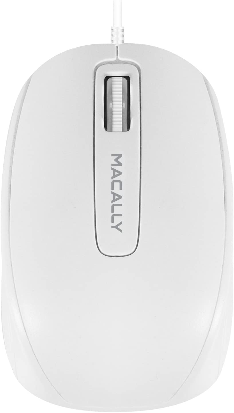 Macally USB Computer Mouse Wired - 3 Button Configuration with Scroll Wheel & 5FT USB Cord - Plug and Play Corded Mouse for Mac & Windows - Sleek Ergonomic USB Mouse (1000 DPI) - White