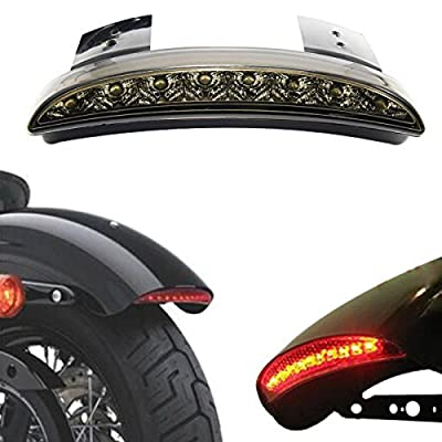 ANKIA Motorcycle Chopped Rear Fender Edge LED Brake License Plate Tail Light Stop Running Light Turn Signal Lamp for Harley Sportster XL883N 1200N XL1200V XL1200X (Smoked Black): Automotive
