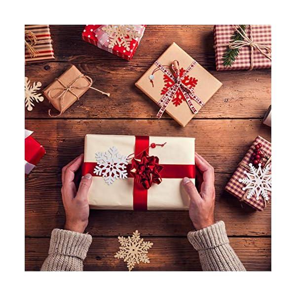 MELLIEX 18 Pezzi di Natale in Legno con Fiocchi di Neve Ornamenti, 3 Colori Albero di Natale Appeso Decorazioni Ciondolo, Natale Artigianato in Legno Abbellimento con Spago 6 spesavip