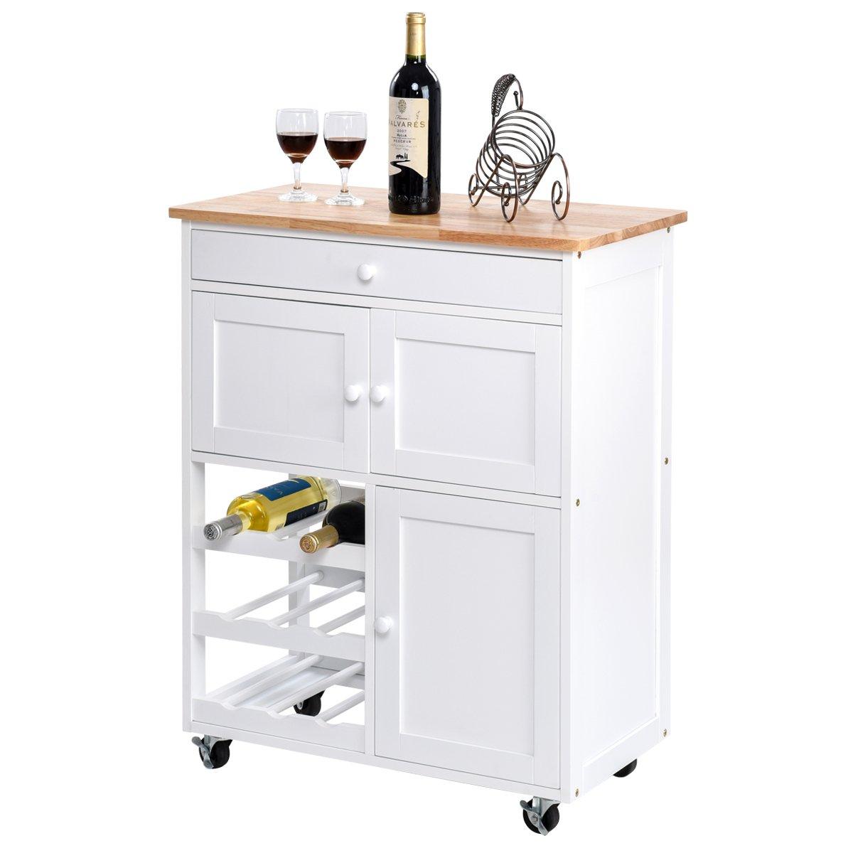 Giantex Modern Rolling Kitchen Trolley Cart w/Drawer & Wine Rack Storage Cabinet Home Restaurant Island Serving Cart w/Wheels (White) by Giantex