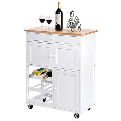 Giantex Modern Rolling Kitchen Trolley Cart W Drawer Wine Rack Storage Cabinet Home Restaurant Island Serving Cart W Wheels White