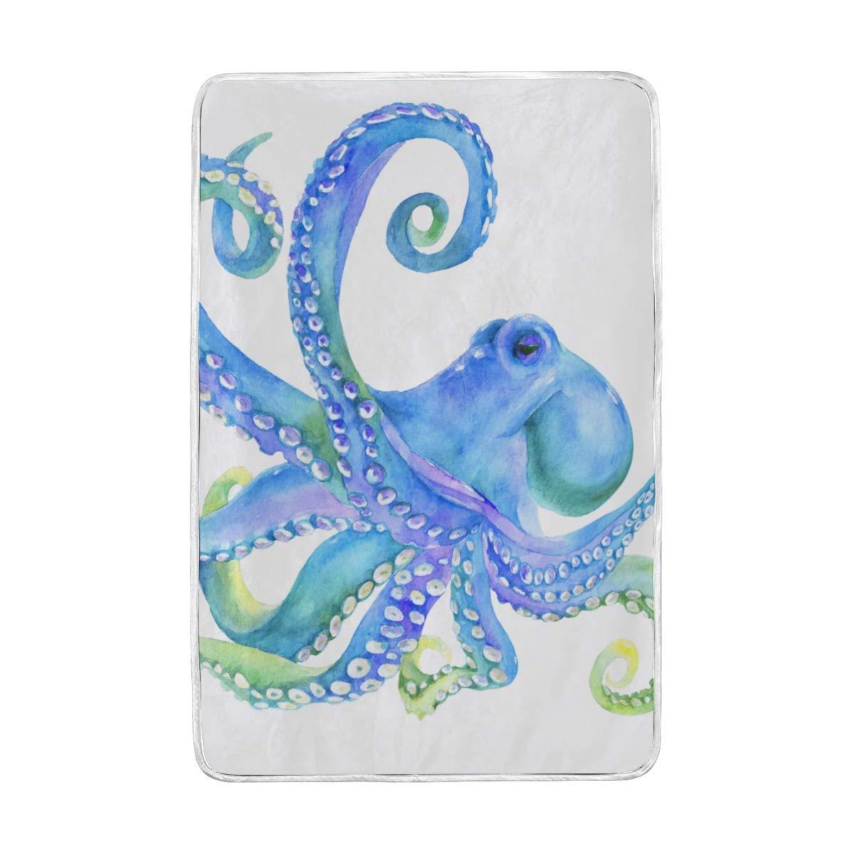 DOSHINE Zwillings-Decke, Aquarell, Ozean, Octopus, weich, leicht, wärmend, 152,4 x 228,6 cm, für Sofa, Bett, Stuhl, Büro