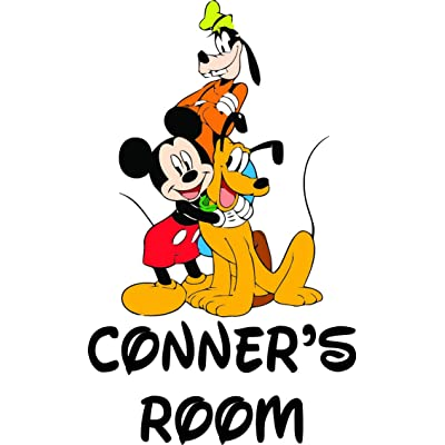 Personalized Names Custom Name Mickey Mouse Pluto Goofy Disneyland Cartoon Show Movie Character Wall Decal Decals Stickers Kids Bedroom Rooms Walls - 90s Cartoons For children's Rooms (20x15 inch): Home & Kitchen