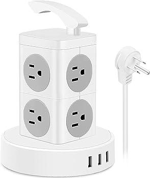 Fdtek 8 AC Outlets 3 USB Ports Electric Charging Station
