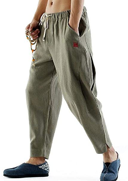 UUYUK Men Print Baggy Cotton Linen Elastic Waisted Casual Harem Jogging Pants