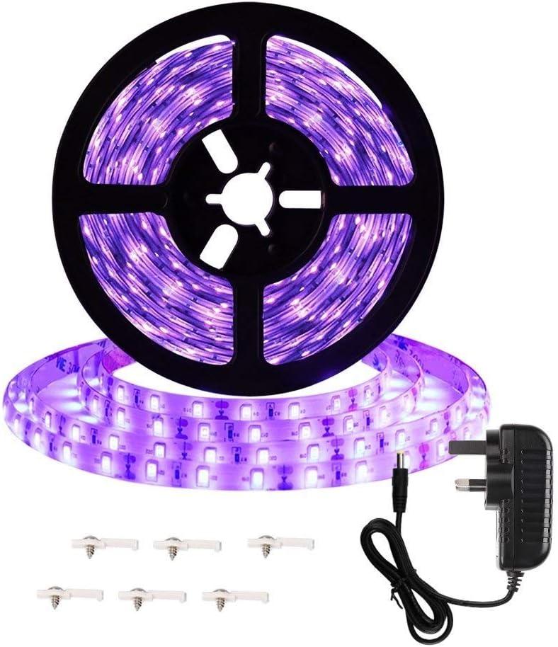 HVTKL Kit de tiras negras LED de 16,4 pies y 5 m, luminaria negra flexible de 24 V y 24 W con adaptador GS, cuenta de 300 LED, no resistente al agua, adecuada for danza fluorescente en interiores, pin