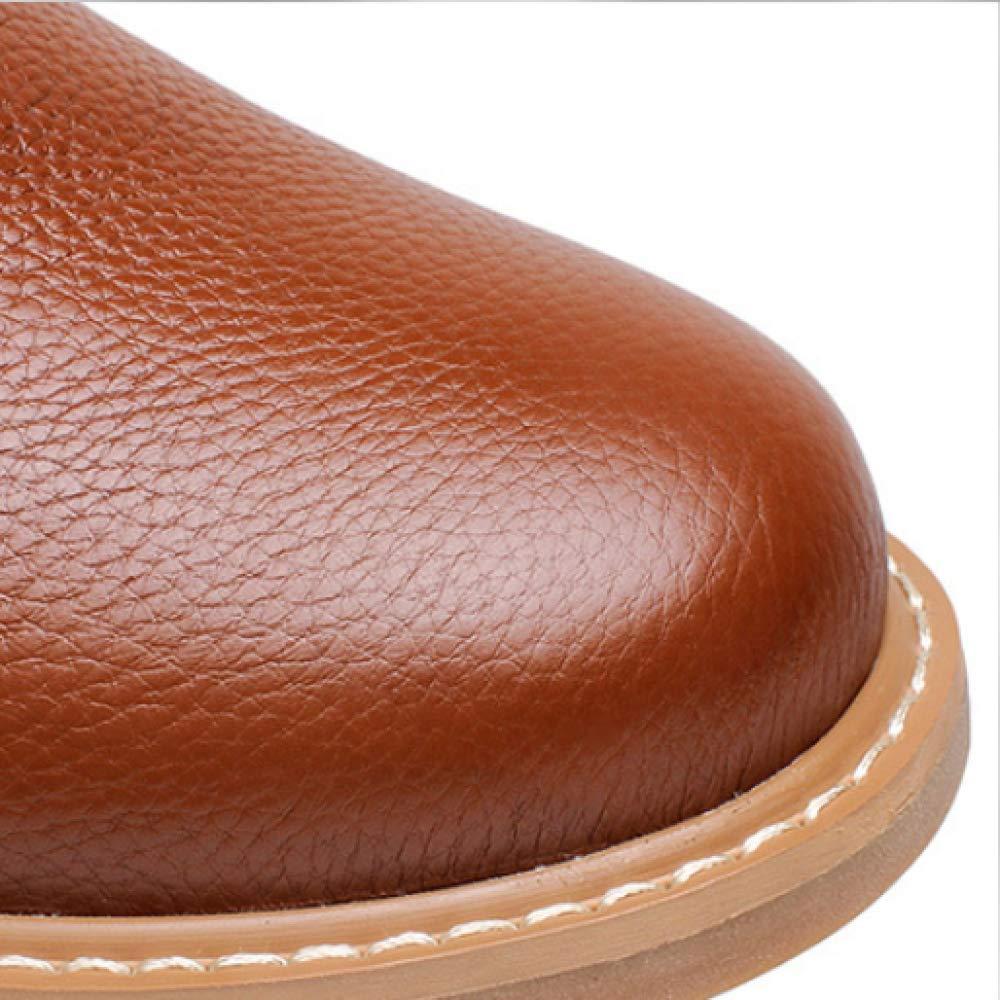 WDYY Plus Baumwolle SAMT Leder Herrenschuhe Aus Baumwolle Plus Runden Kopf Britische Werkzeug Martin Stiefel schwarz 4c5f93