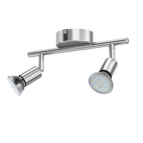 reteck – Lámpara LED de techo, 2 focos (Incluye 2 x 3.5 W GU10