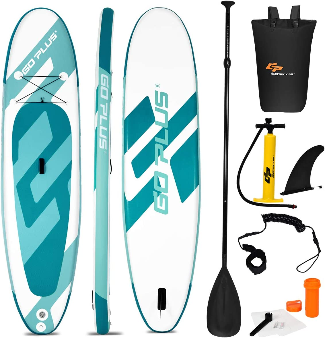 Goplus Inflatable Stand Up Paddle Board, 6 Thick SUP with Accessory Pack, Adjustable Paddle, Carry Bag, Bottom Fin, Hand Pump, Leash and Repair Kit