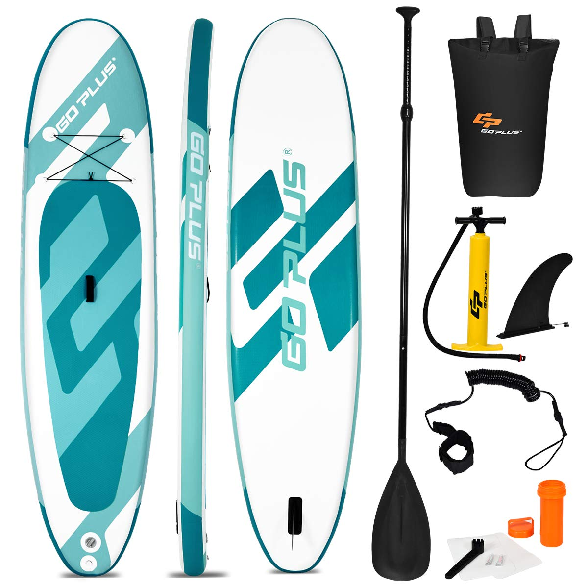 Goplus Inflatable Stand Up Paddle Board, 6'' Thick SUP with Accessory Pack, Adjustable Paddle, Carry Bag, Bottom Fin, Hand Pump, Non-Slip Deck, Leash, Repair Kit (Green, 11FT) by Goplus
