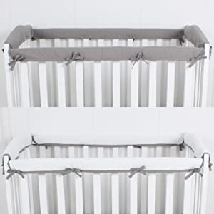 CaSaJa 4-Piece Mini Crib Rail Cover Set for Entire Mini Crib Rails 24in x 38in, Safe Breathable Padded Batting Inner for Baby Teething Guard, Soft Reversible Mini Crib Rail Protector Wraps, Grey