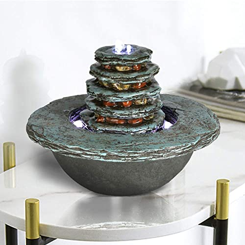 Faux Cyan Stone Waterfall Indoor Fountain 7 1 2 , Feng Shui Zen Tabletop Fountain with LED Light for Interior Decoration
