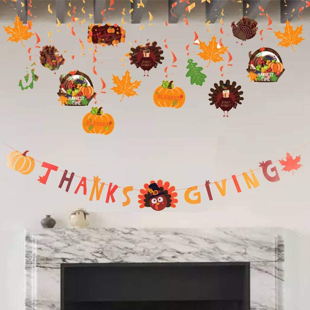 MorTime 31 PCS Thanksgiving Hanging Ceiling Swirl Pendant & Hanging Thanksgiving Banner, Autumn Themed Spiral Turkey Pumpkin Maple Leaves for Thanksgiving Home, School and Party Decorations
