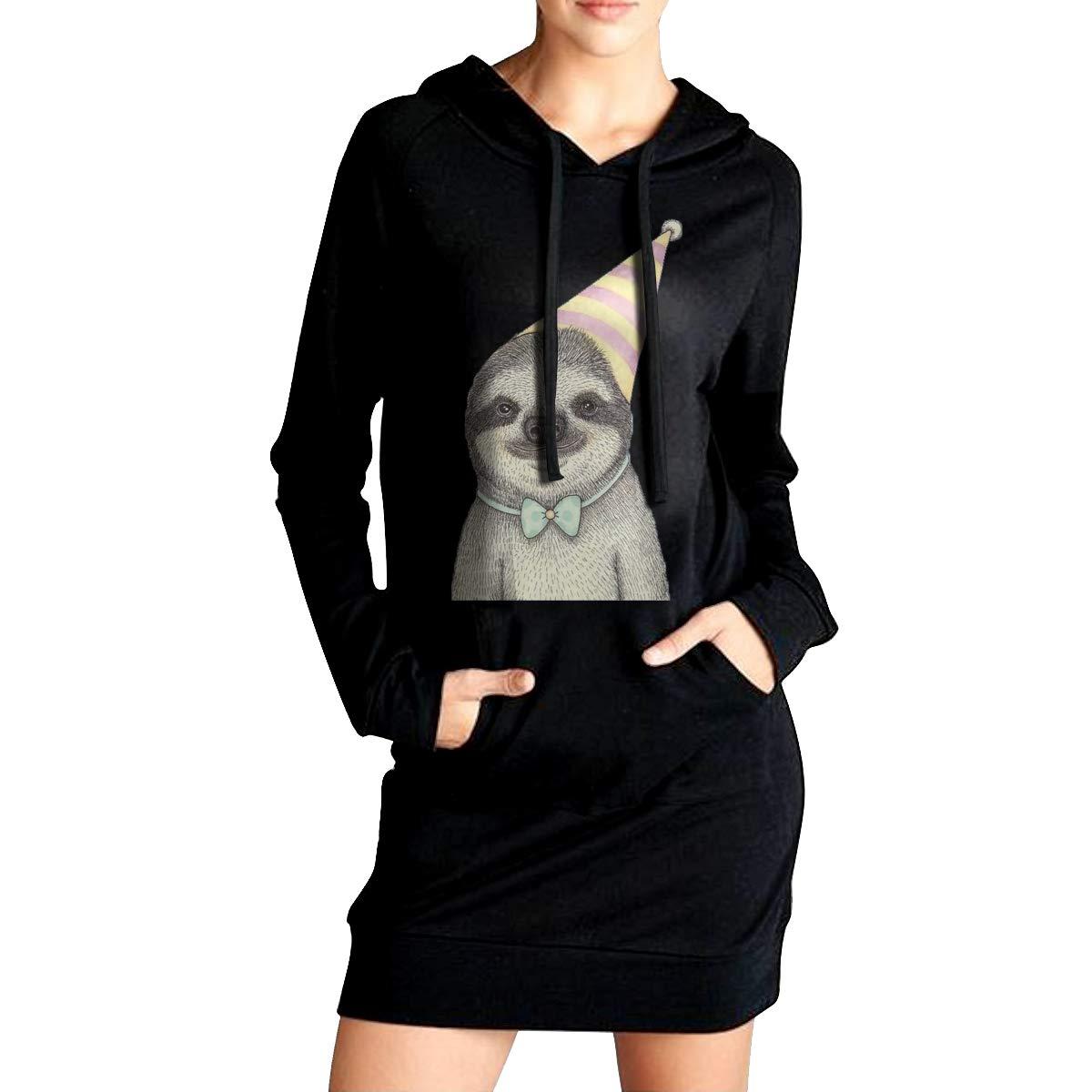 Northern Nebula Sloth Birthday Womens Long Sleeve Hoodie Tunic Dress Solid Pullover Loose Sweatshirt Long Tops