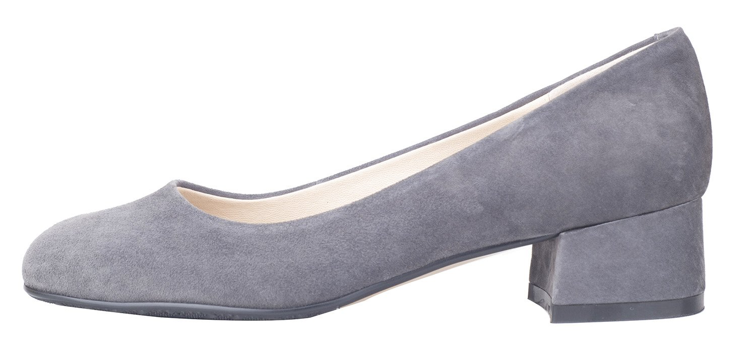 queenfoot Women's Low Chunky Heel Square Toe Genuine Suede Leather Elegant Style Comfort Dress Pump Shoes Grey Real Suede Leather 11.5 B(M) US