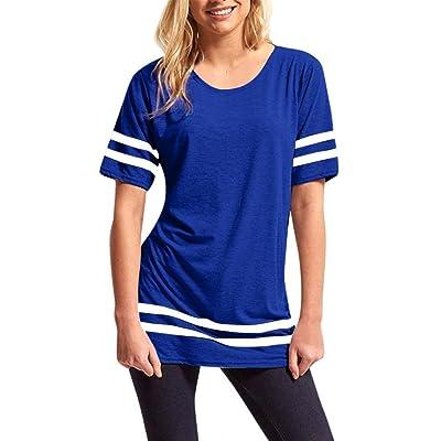 Amiley Hot Sale Womens Ladies Stripe Baggy Top Short Sleeve Sport Baseball T Shirts Blouse