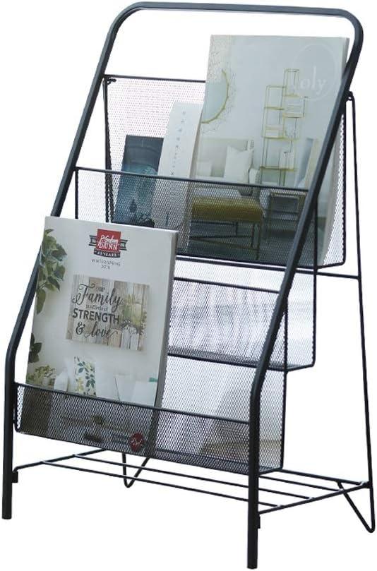 Zeitschriftenst/änder mehrlagig f/ür Wohnzimmer SGMYMX Zeitschriftensammler Standregal 41 * 23 * 64cm Schwarz Schmiedeeisen