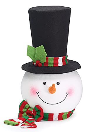 Snowman Head With Top Hat U0026 Red/Green Scarf Christmas Tree Topper By Burton  U0026