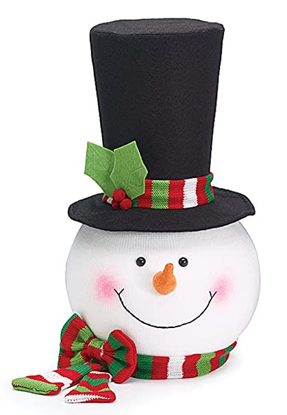snowman head with top hat redgreen scarf christmas tree topper by burton - Best Christmas Tree Topper