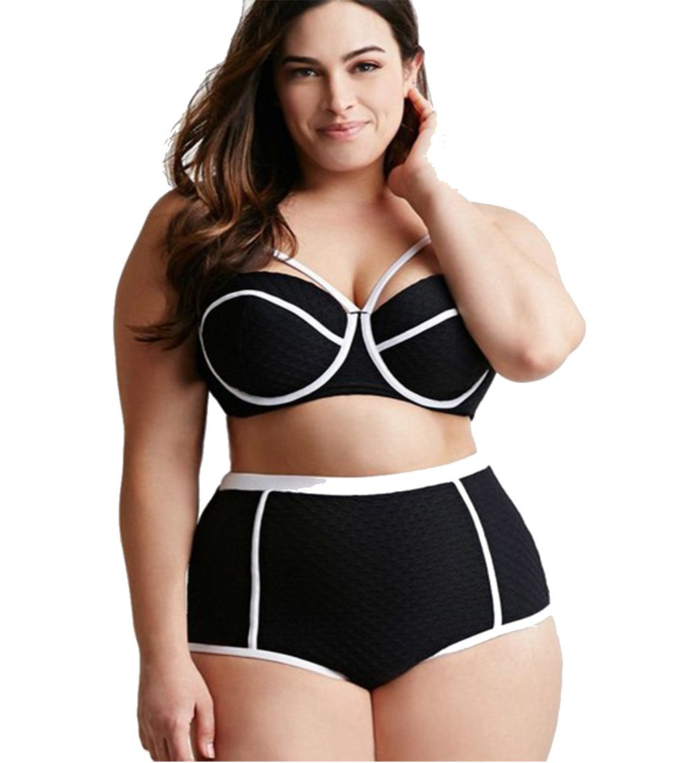 MITIAO womens 2 pieces plus size white line bikini swimsuits Black XL B01DF21WGK