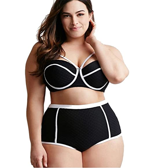 MITIAO womens 2 pieces plus size white line bikini swimsuits Black