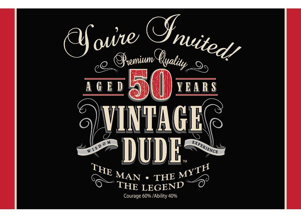 Amazon Creative Converting Vintage Dude 8 Count 50th Birthday – 50th Birthday Party Invite