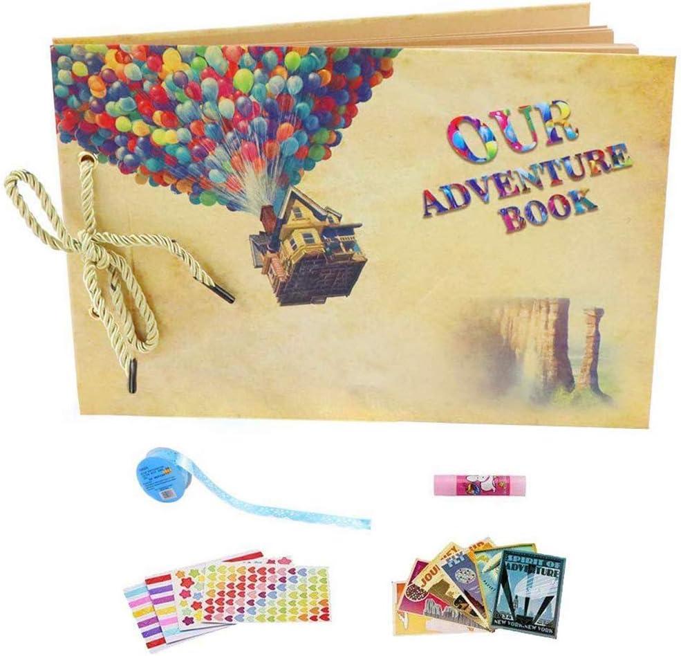 YIHAO Album de Fotos,Libro de Aventura con Accesoro Maravilloso, Our Adventure Scrapbooking DIY Vintage Aniversario Boda Amigos Novios Bebé ,Regalo único para el cumpleaños