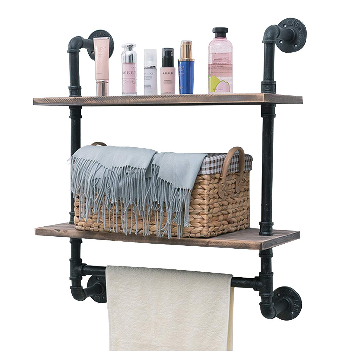 "Industrial Pipe Shelf,Rustic Wall Shelf with Towel Bar,24"" Towel Racks for Bathroom,2 Tiered Pipe Shelves Wood Shelf Shelving"