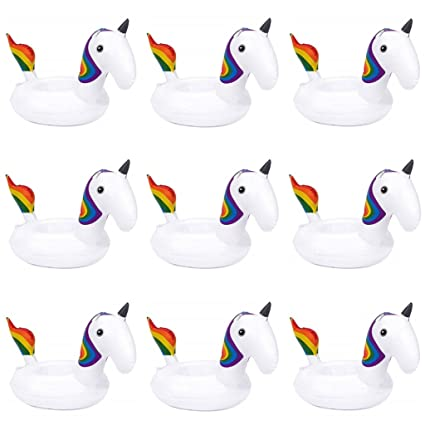 Amazon.com: 6 Pack Unicorn flotador hinchable bebida Copa ...