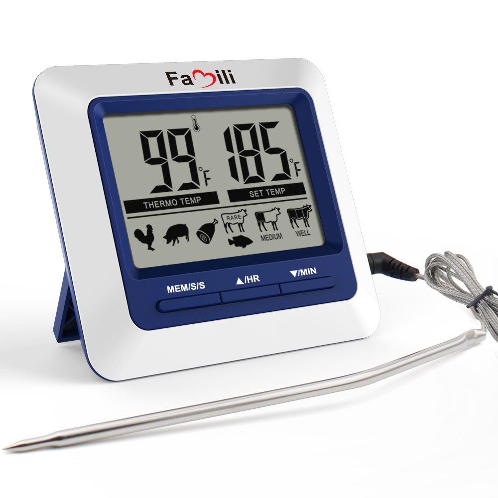 Famili MT 004 Termómetro digital para Comida Carne Cocina Termómetro de Cocina con Temporizador de cuenta atrás Alarma , Sonda de Acero trenzado por ...