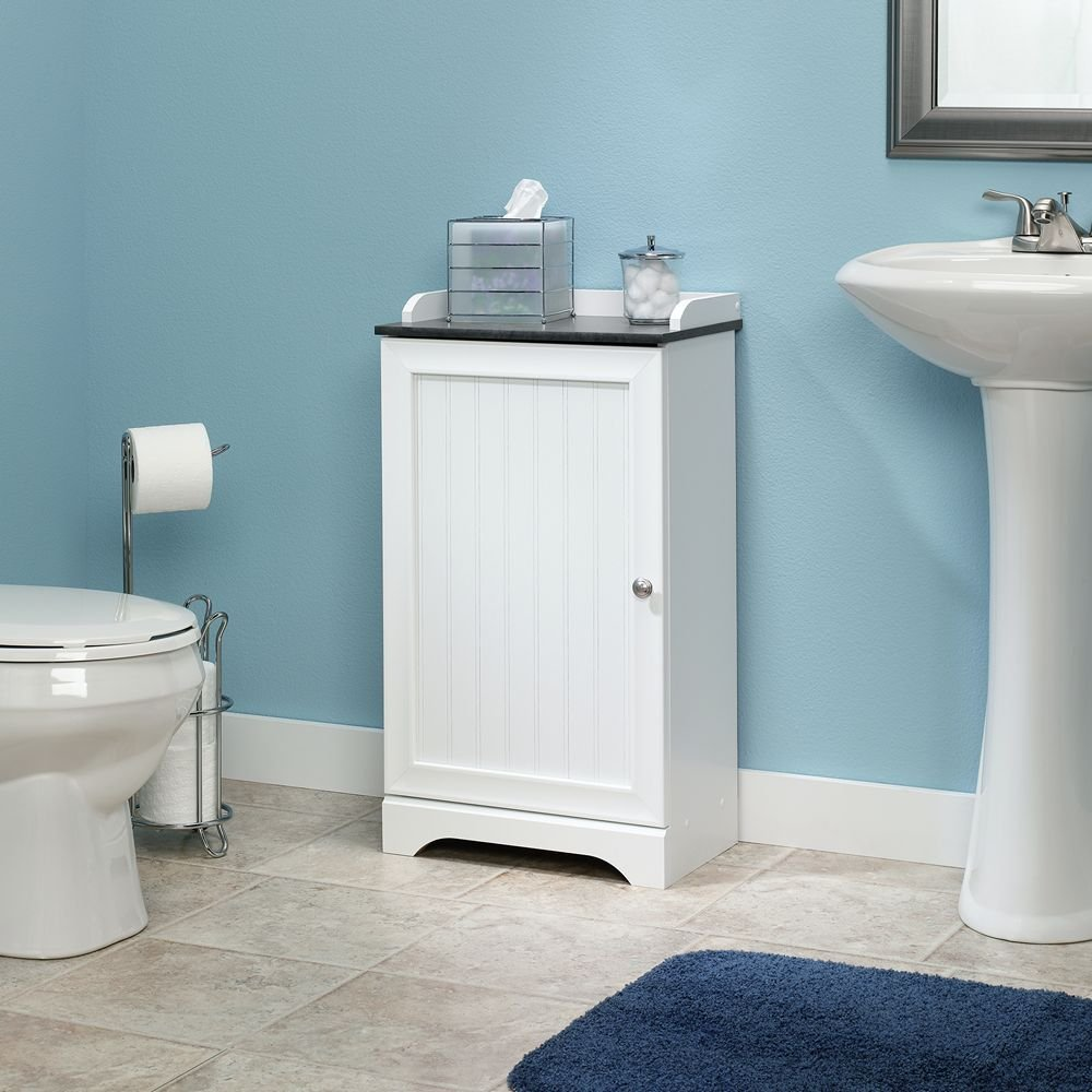 Bathroom Storage Cabinets Floor Amazoncom Sauder Caraway Floor Cabinet In Soft White Kitchen