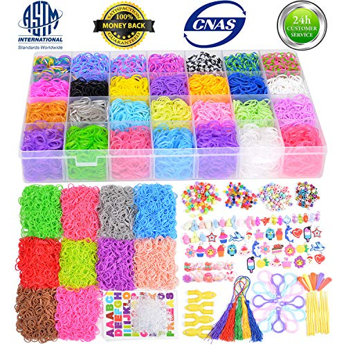 18700+ Rainbow Rubber Bands Refill Kits,Loom Rubber Bands Refills Set Include:17760+ Loom Bands in 38 Colors, 600 Clips, 230 Beads, 56 ABC Beads, 54 Charms, 12 Backpack Hooks, 10 Crochet Hooks, 10 Rin