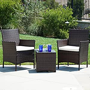 Amazon.com : Belleze 3pc Outdoor Patio Furniture Wicker Cushion Seat ...