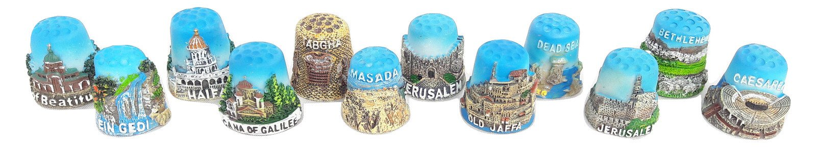 12pc Thimble Souvenir From Israel&palestine Sewing Holyland Thimbles Collection by holyland souvenir