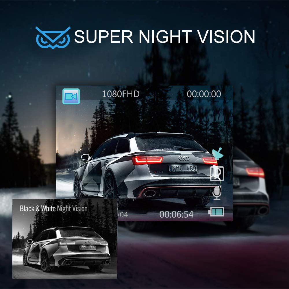 Dash Camera Night Vision 1080P Full HD Dash Cams Car Driving Recorder with 170/° Wide Angle Parking Monitor WDR Motion Detection Loop Recording Emergency Accident Lock Vehicle Front Camera Car
