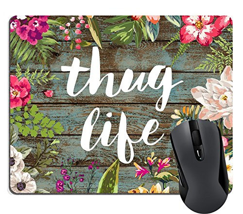 Wknoon Cute Large Mouse Pad, Vintage Colorful Floral Wreath Retro Old Wood Art, Thug Life Funny Quotes Mousepad Mat
