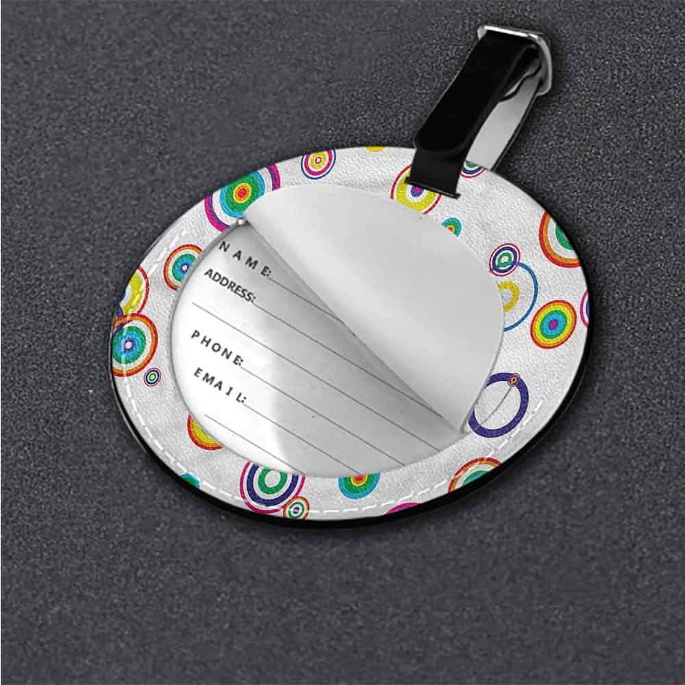 Favorite brand luggage tags Abstract,Geometric Circles Stripes Tag Portable Women