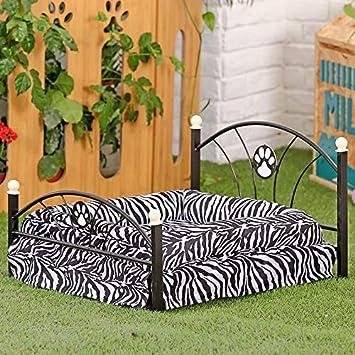 Cama de Metal Marco del Cama para Perros Animales Cachorro de Lujo de la Cebra y Leopardo Cama para Mascota de Familia: Amazon.es: Productos para mascotas