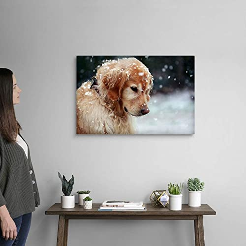 Golden Retriever Puppy Watching The Snowflakes Canvas Wall Art Print