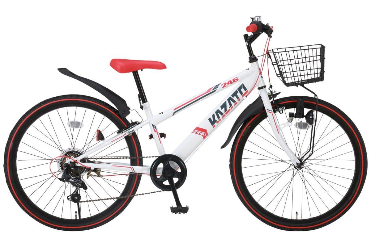 KAZATO(カザト)24インチシマノ6段変速スチール製子供用マウンテンバイク[ダイナモライト/ワイヤーカゴ/後輪リング錠標準装備]BKZ-246 ホワイトレッド B00ZQCRDCU